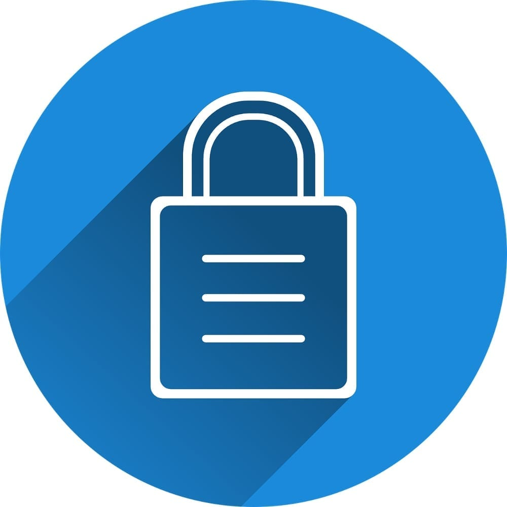 White padlock on blue circular background